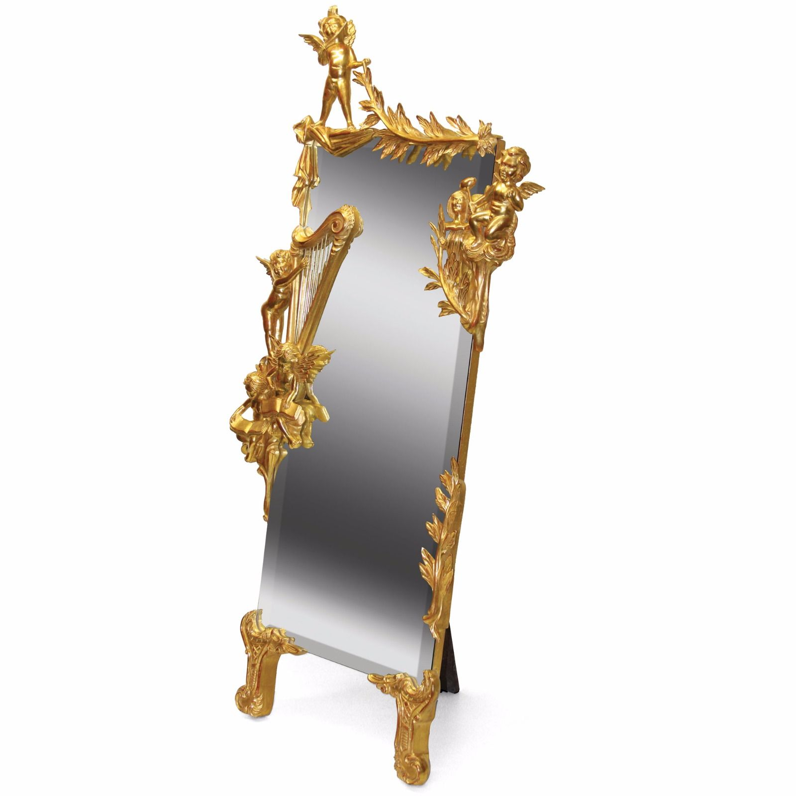 Water gilded cherub cheval mirror - 60in.