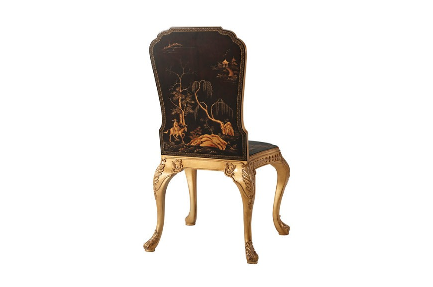 Chocolate chinoiserie and giltwood hall chair
