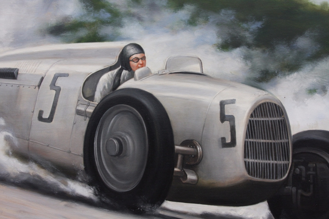 Framed Oil Painting of Bernd Rosemeyer in the Auto Union Type C