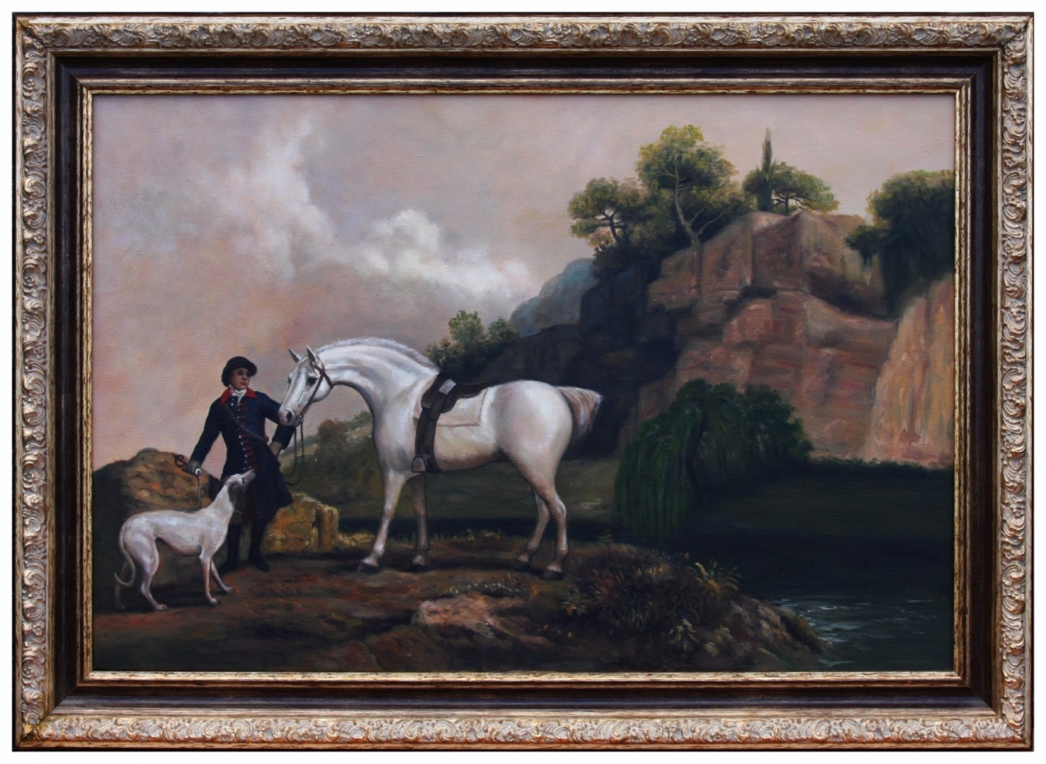 Oil Painting after 'A Grey Hunter with a Groom and a Greyhound at Creswell Crags' by George Stubbs