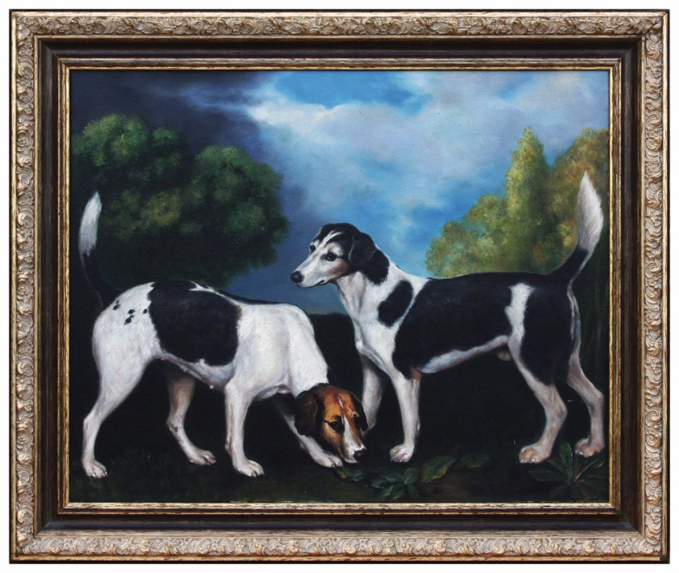 Oil Painting after 'A Couple of Foxhounds' by George Stubbs