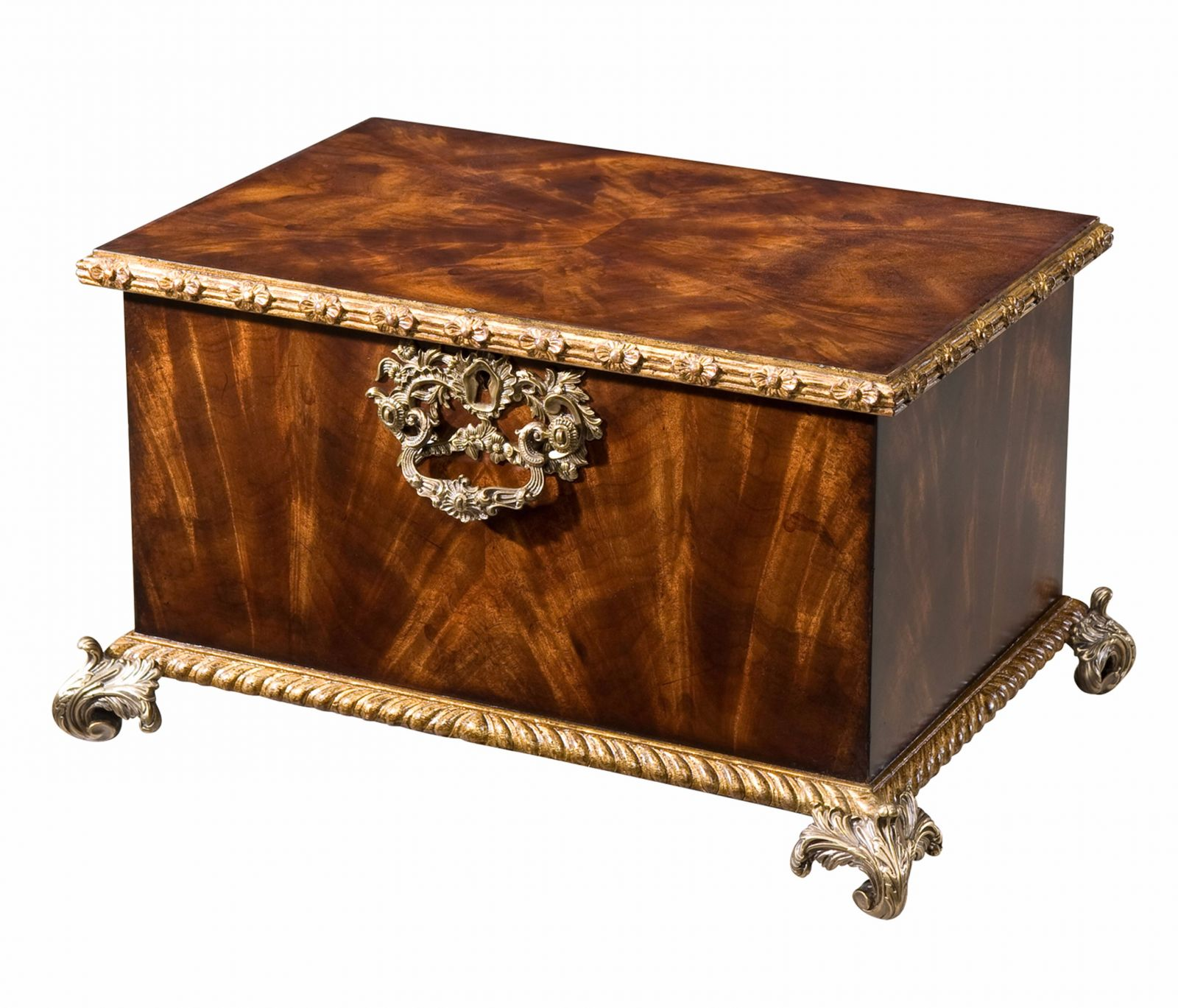 A fine flame mahogany gilt carved box