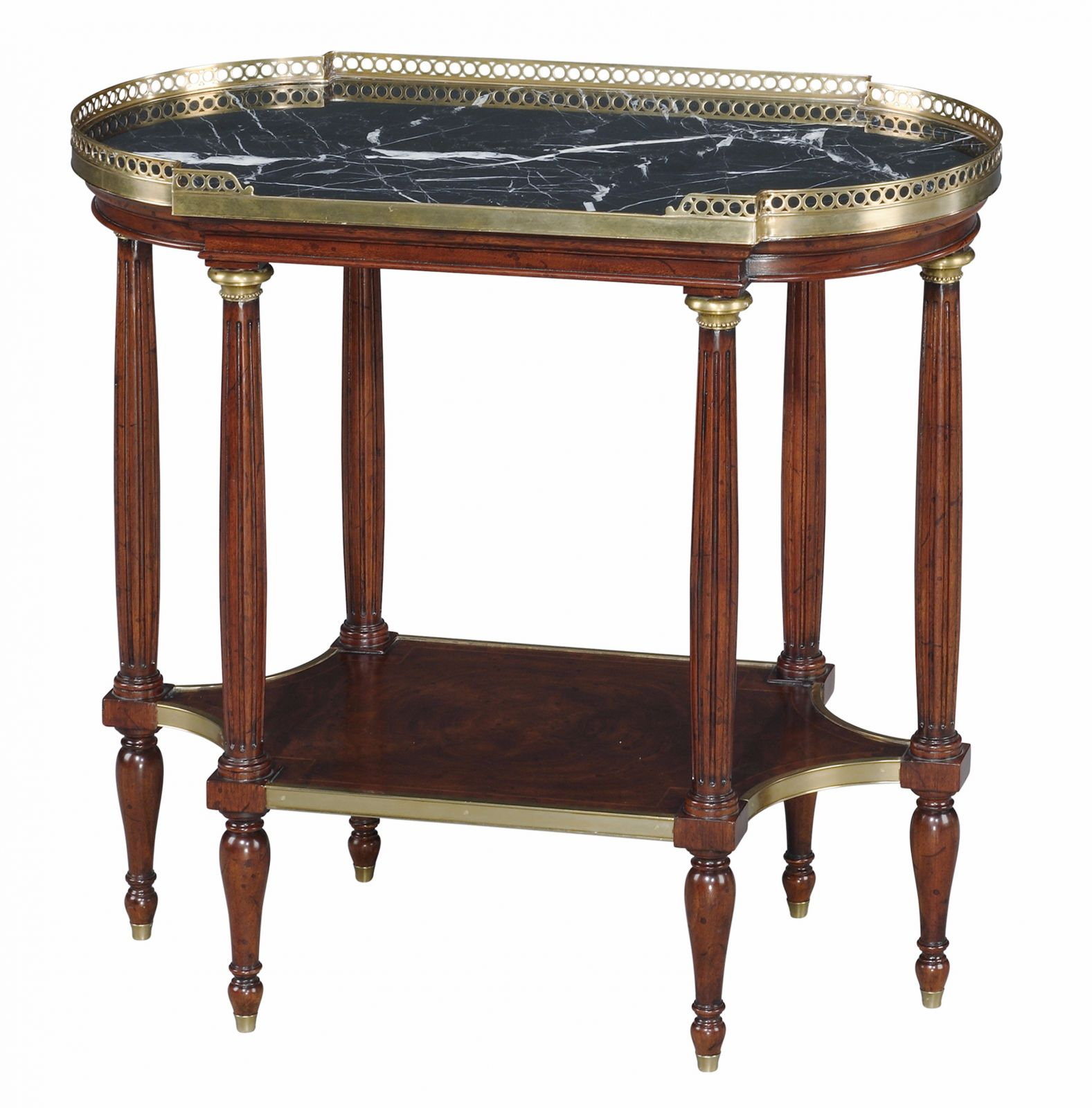 A marble top mahogany lamp table