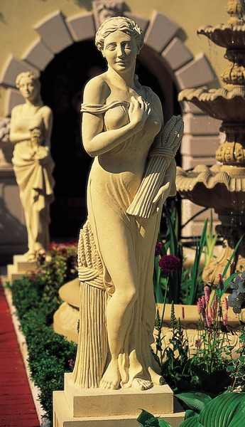 Cast stone statue on pedestal - Summer