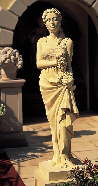 Cast stone statue on pedestal - Autumn