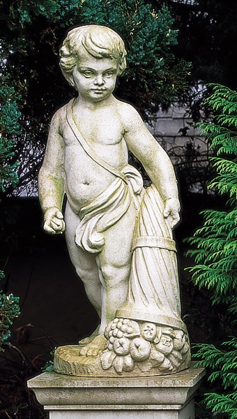 Cast stone statue on pedestal - Earth