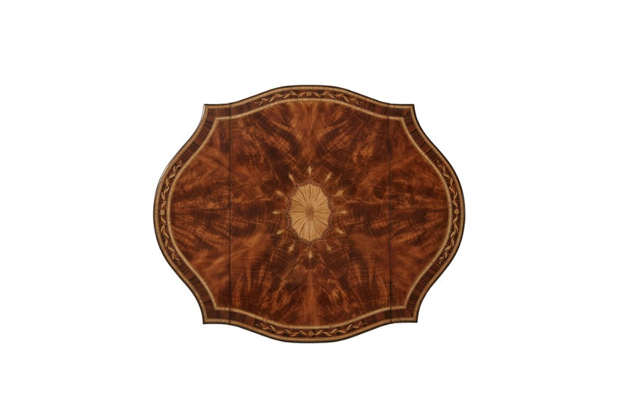 Flame mahogany and satinwood marquetry Pembroke table
