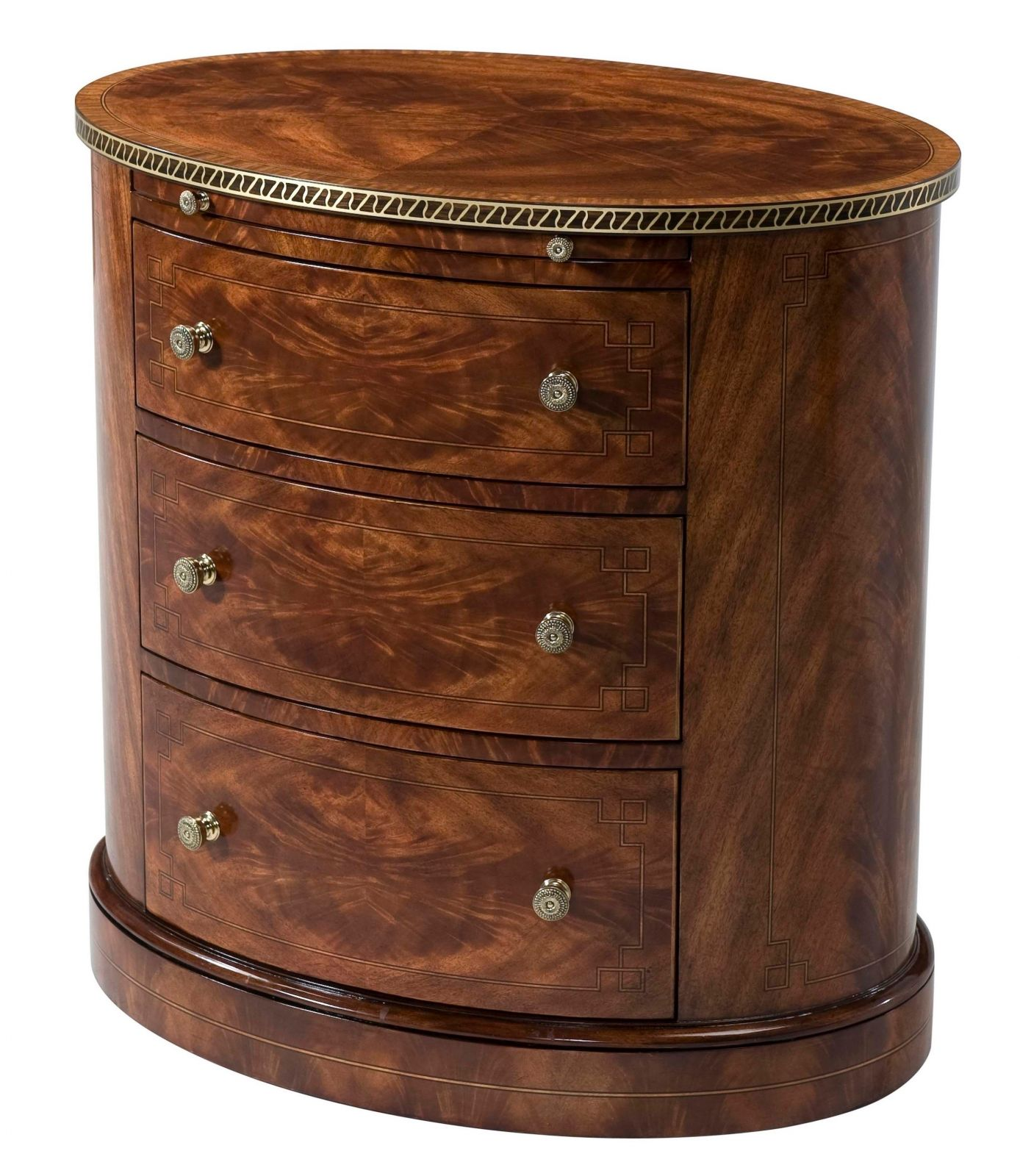 An oval flame mahogany veneered nightstand