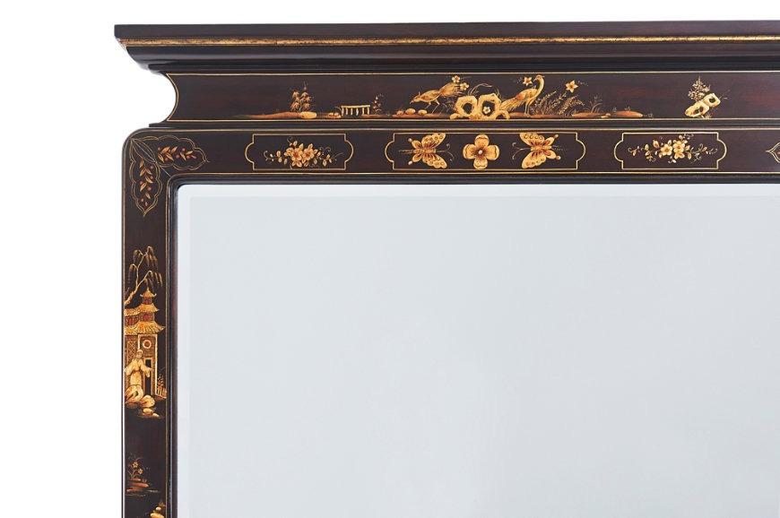 An ebonised mahogany Chinoiserie hand-painted pier mirror