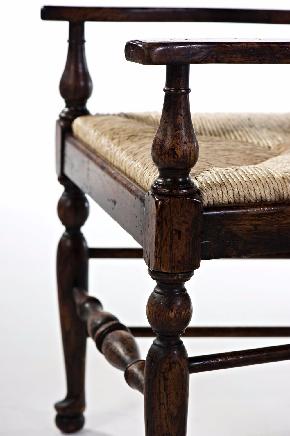 An oak ladder back armchair