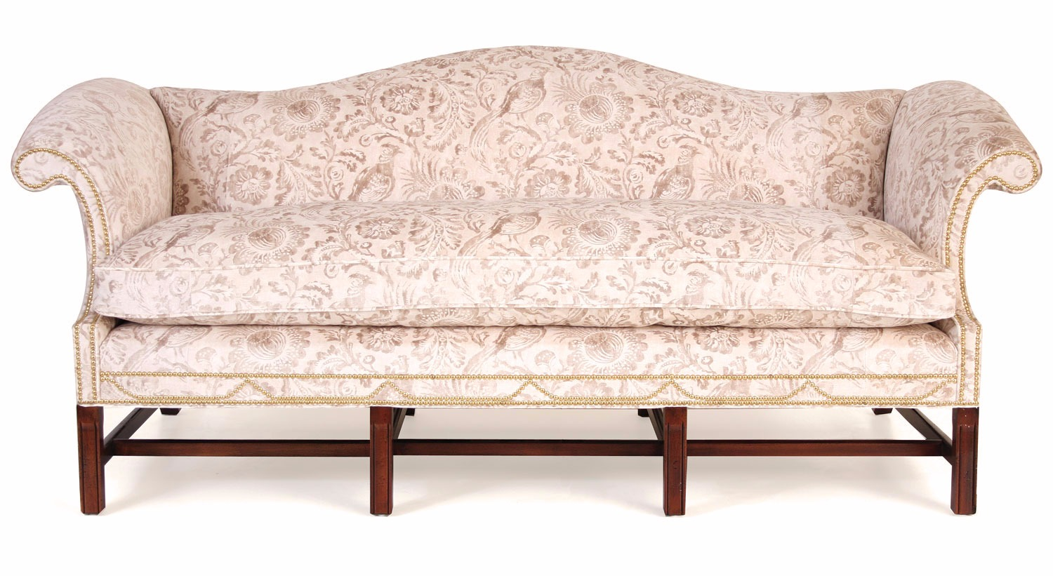 Boston 3 seat in velvet print with polished brass studs
