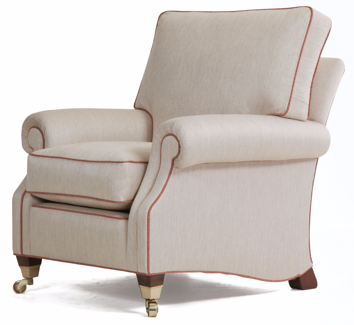 Monet chair in chenille with contrast piping