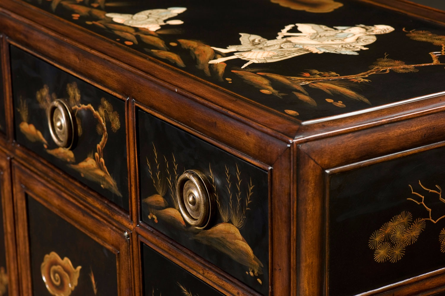 Black lacquered Chinoiserie and mahogany side cabinet