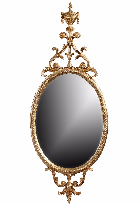 Oval urn giltwood mirror