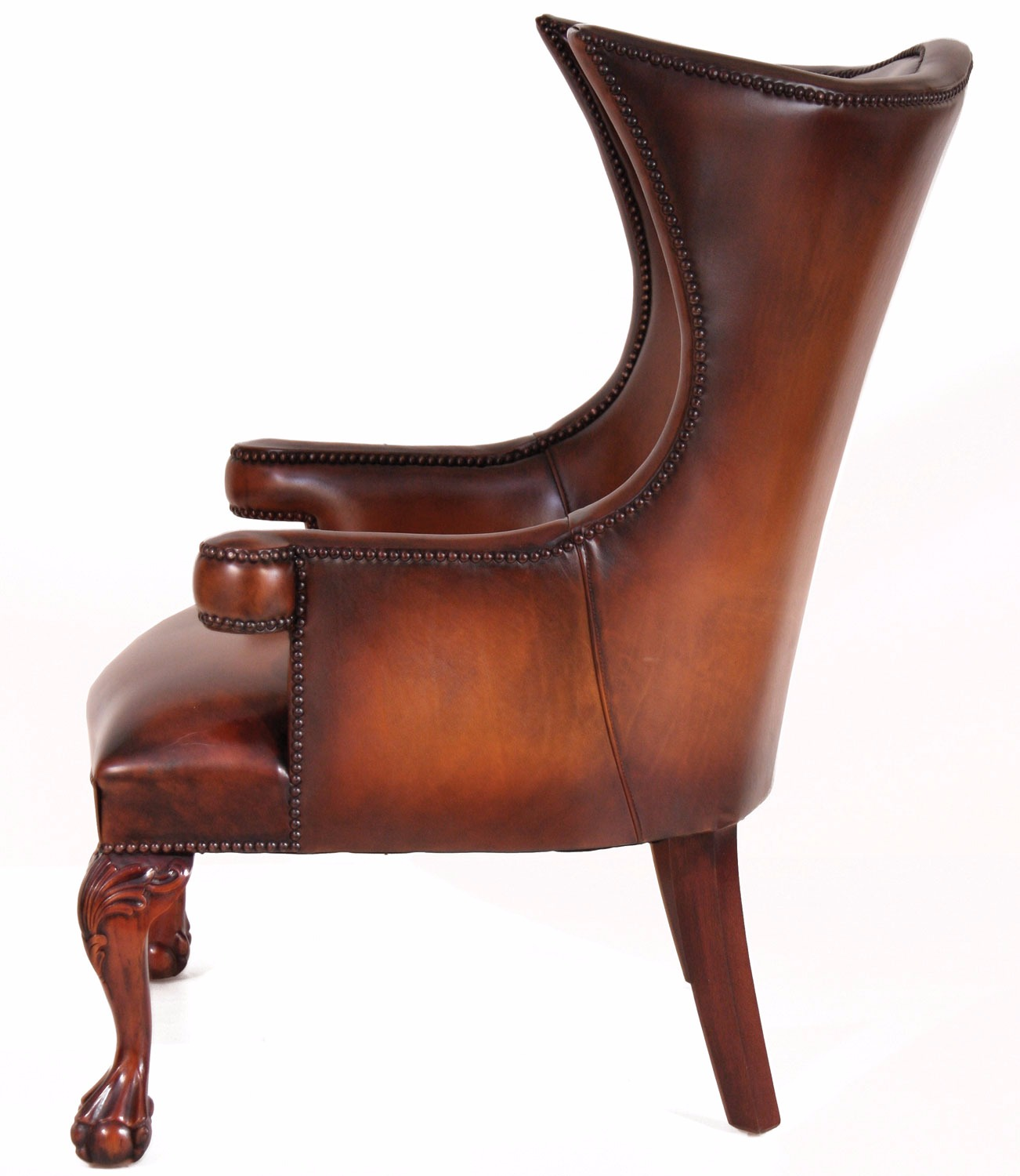 Okeford leather wing chair in hand dyed hide Leather Chairs in