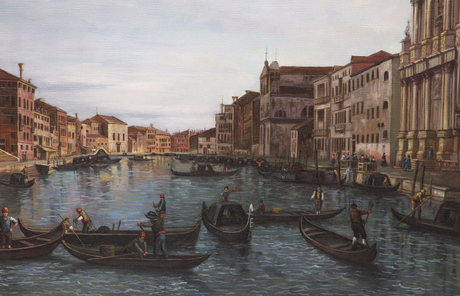 Oil Painting after 'Venice: The Grand Canal with S. Simeone Piccolo' by Canaletto