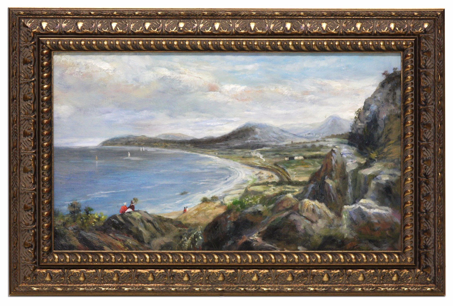 Coastal view framed oil painting