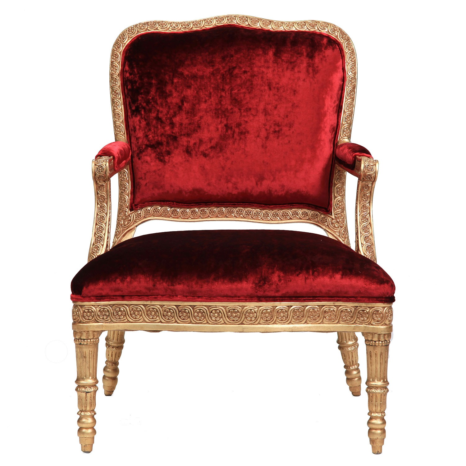 James giltwood chair in red crushed velvet