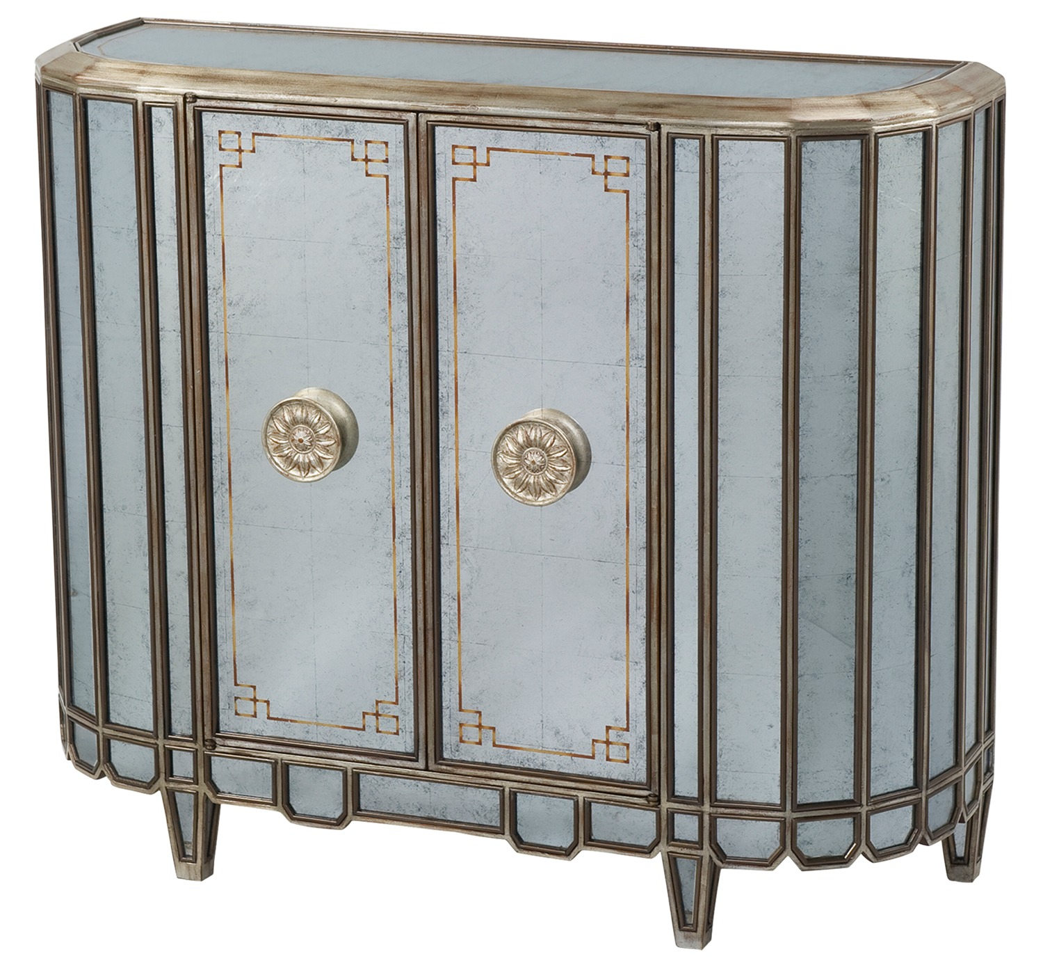 An antique mirrored side cabinet