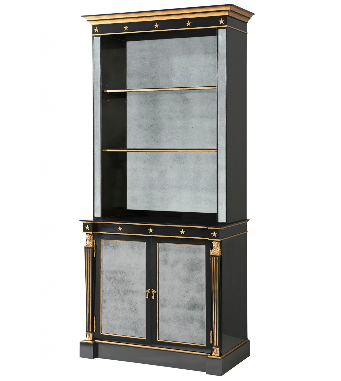 Antique Mirror Panel Display Cabinet