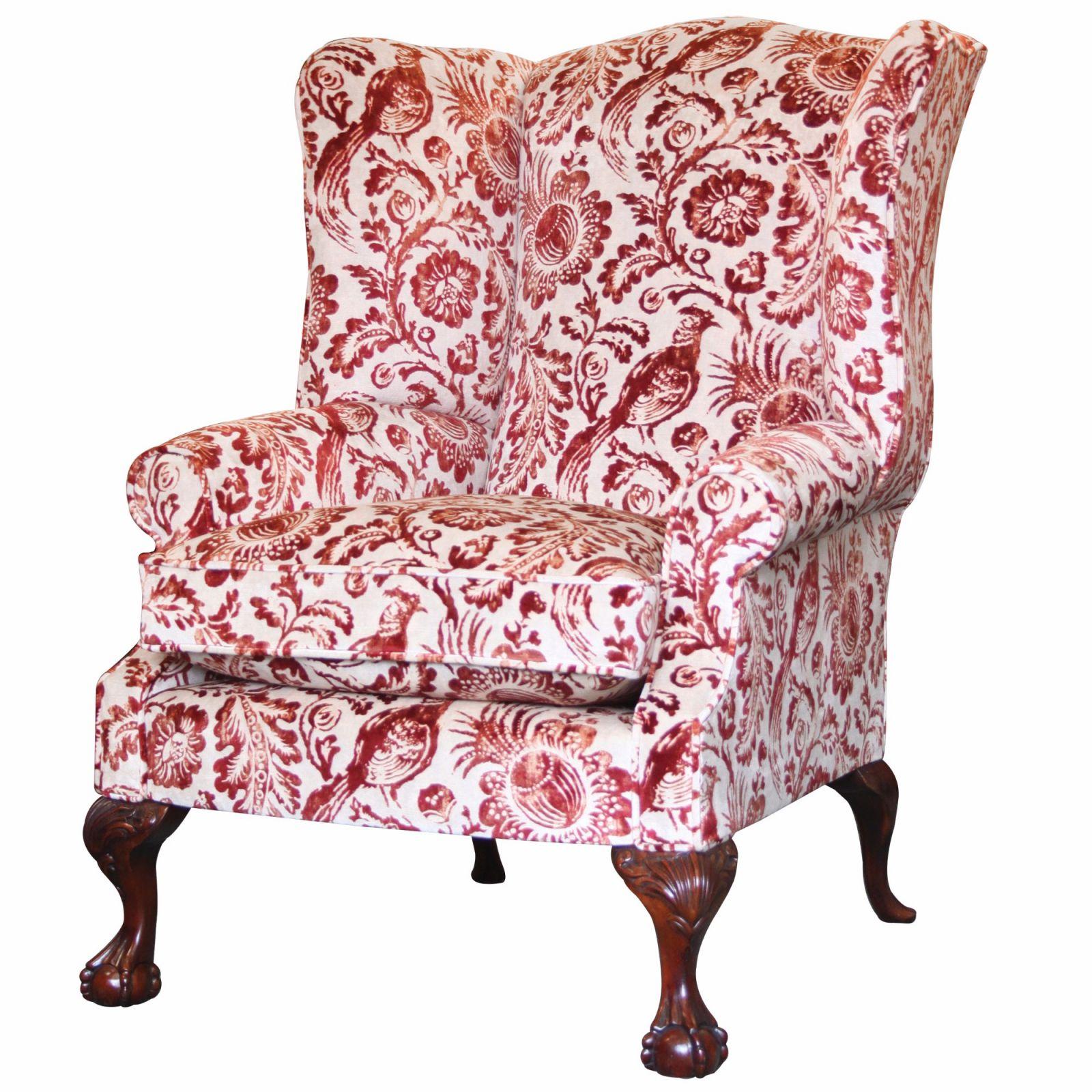 Coleridge wing chair in Dutch Pheasant velvet