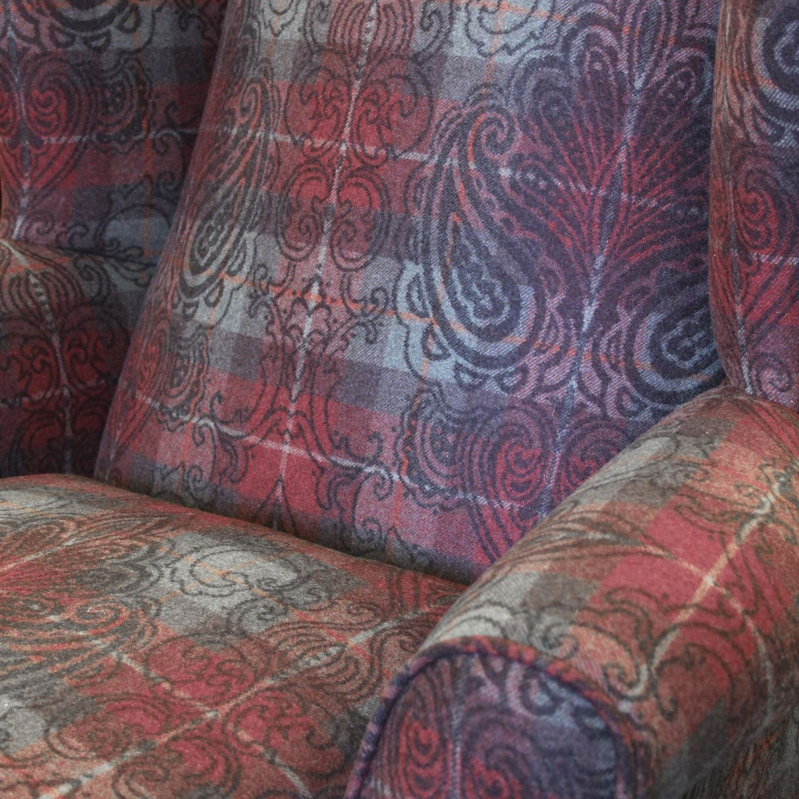 Hambledon wing chair in Alberta Maple Jacquard