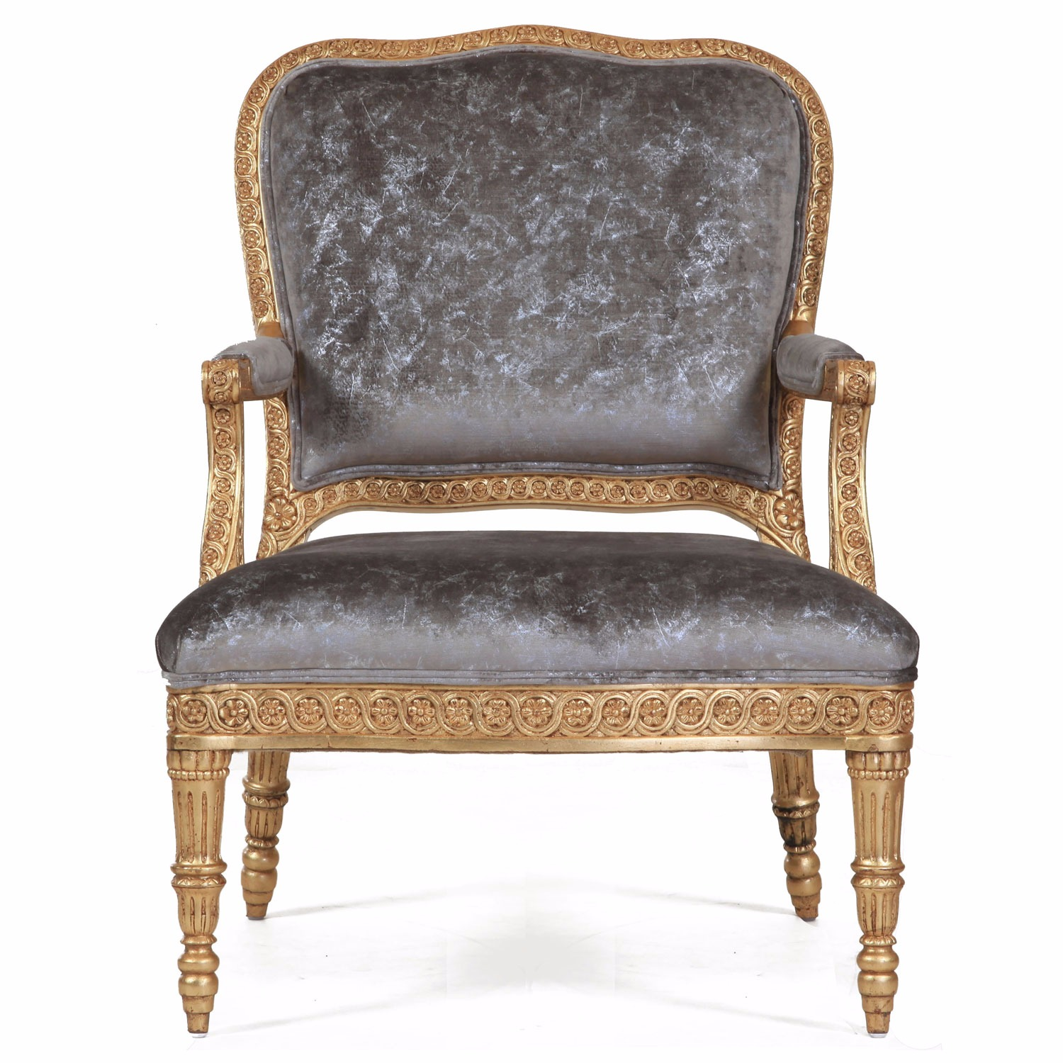 James giltwood chair in crushed sandshell velvet