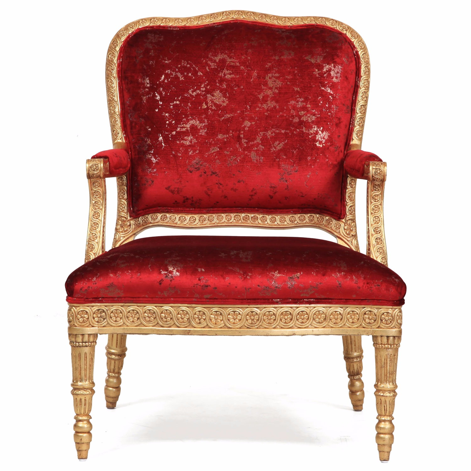James giltwood chair in crushed red rose velvet