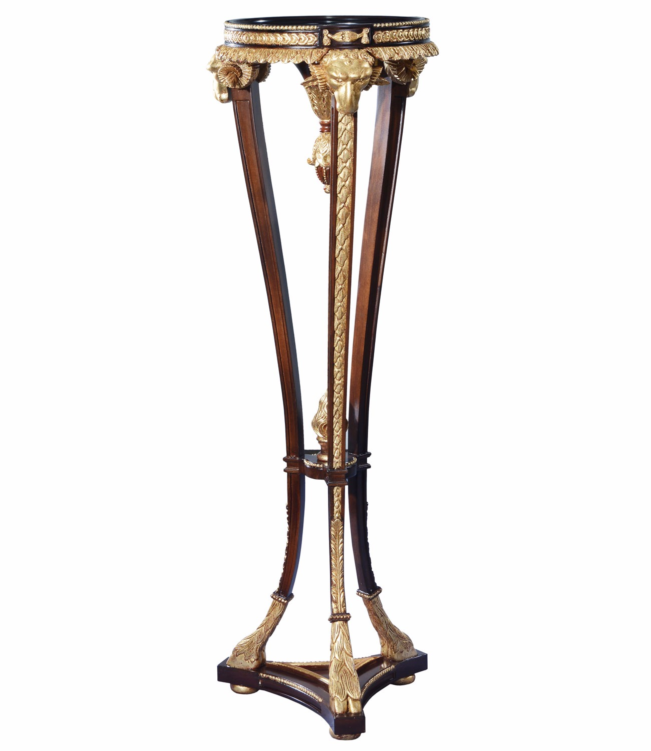 Mahogany and giltwood rams head torchere