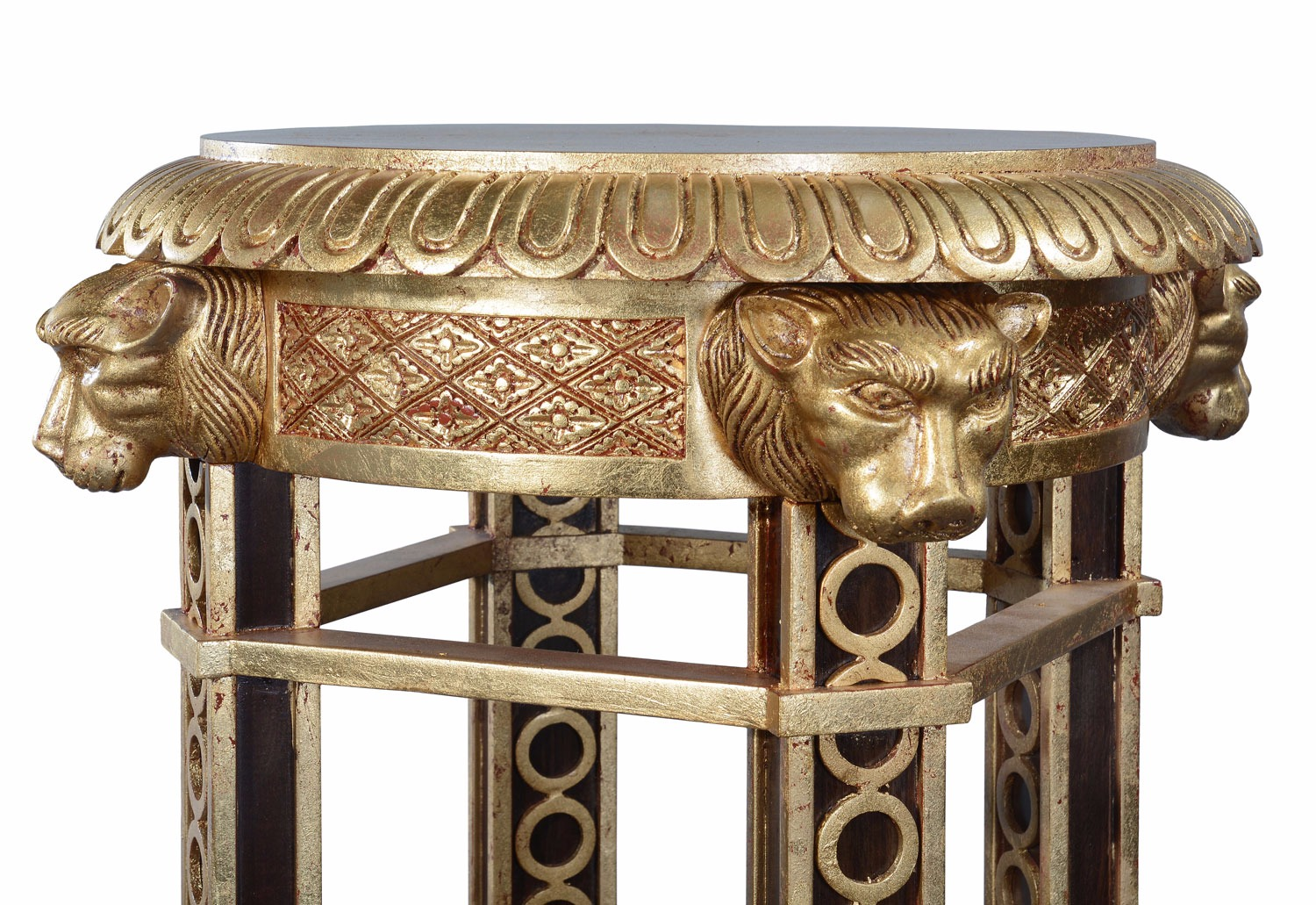 Ebonised mahogany and giltwood lion torchere