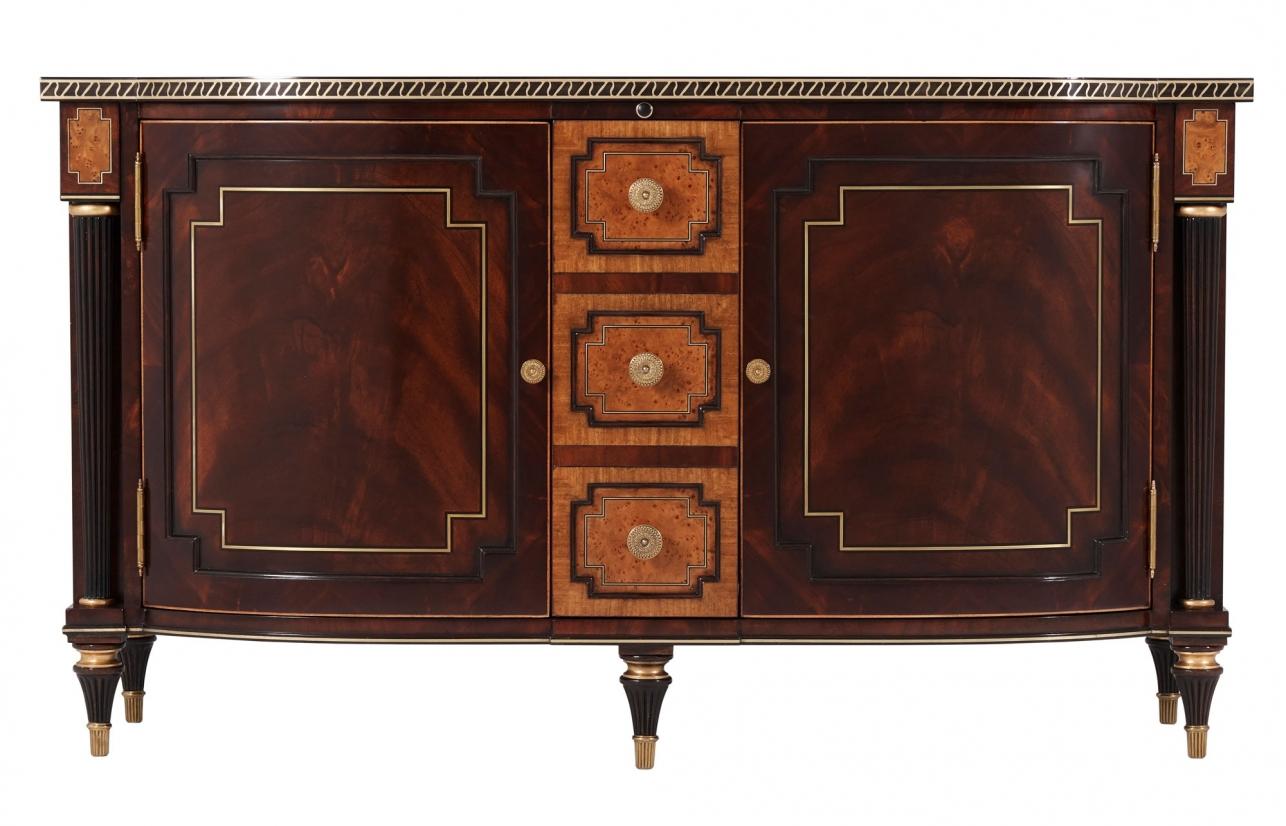 A mahogany veneered and yew burl banded TV television cabinet