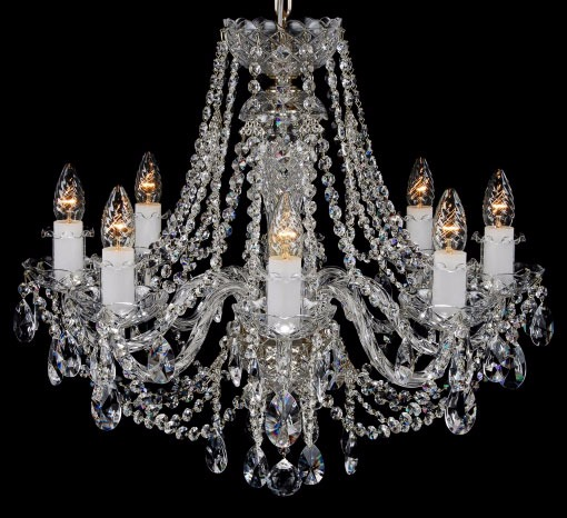 Eight light silver and crystal chandelier