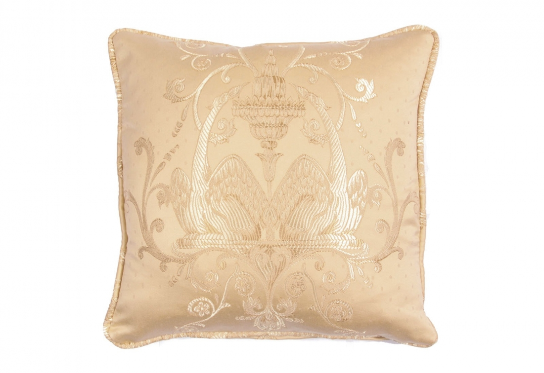 "Square 12"" small scatter cushion in embroidered damask"