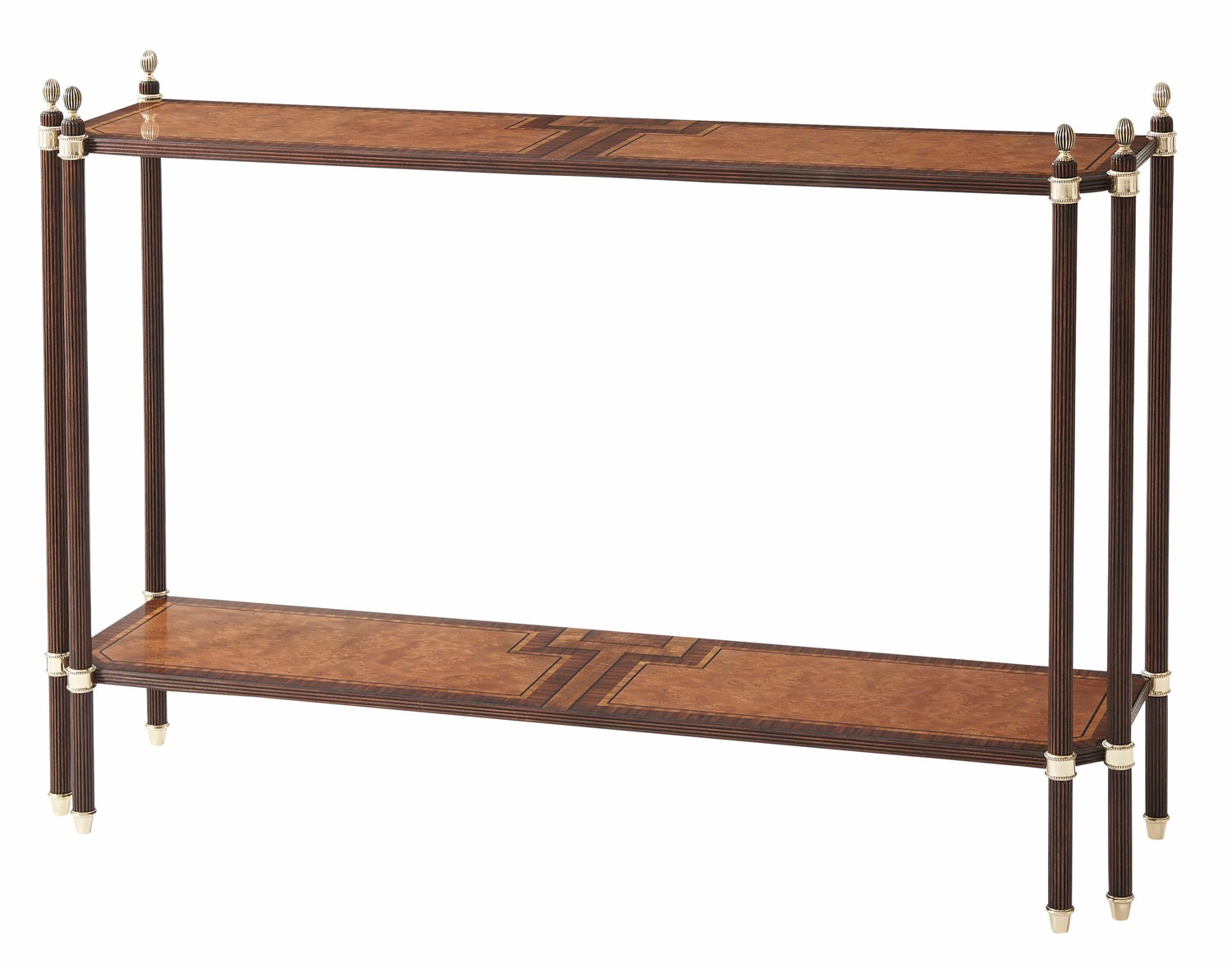 A finely parquetry veneered two tier console table