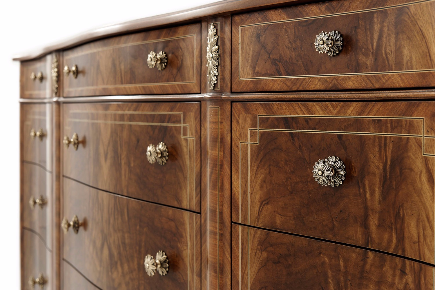 A Noix finish flame Etimoe veneered dresser