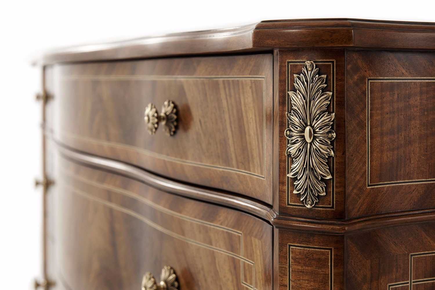 A Noix finish flame Etimoe veneered chest of drawers