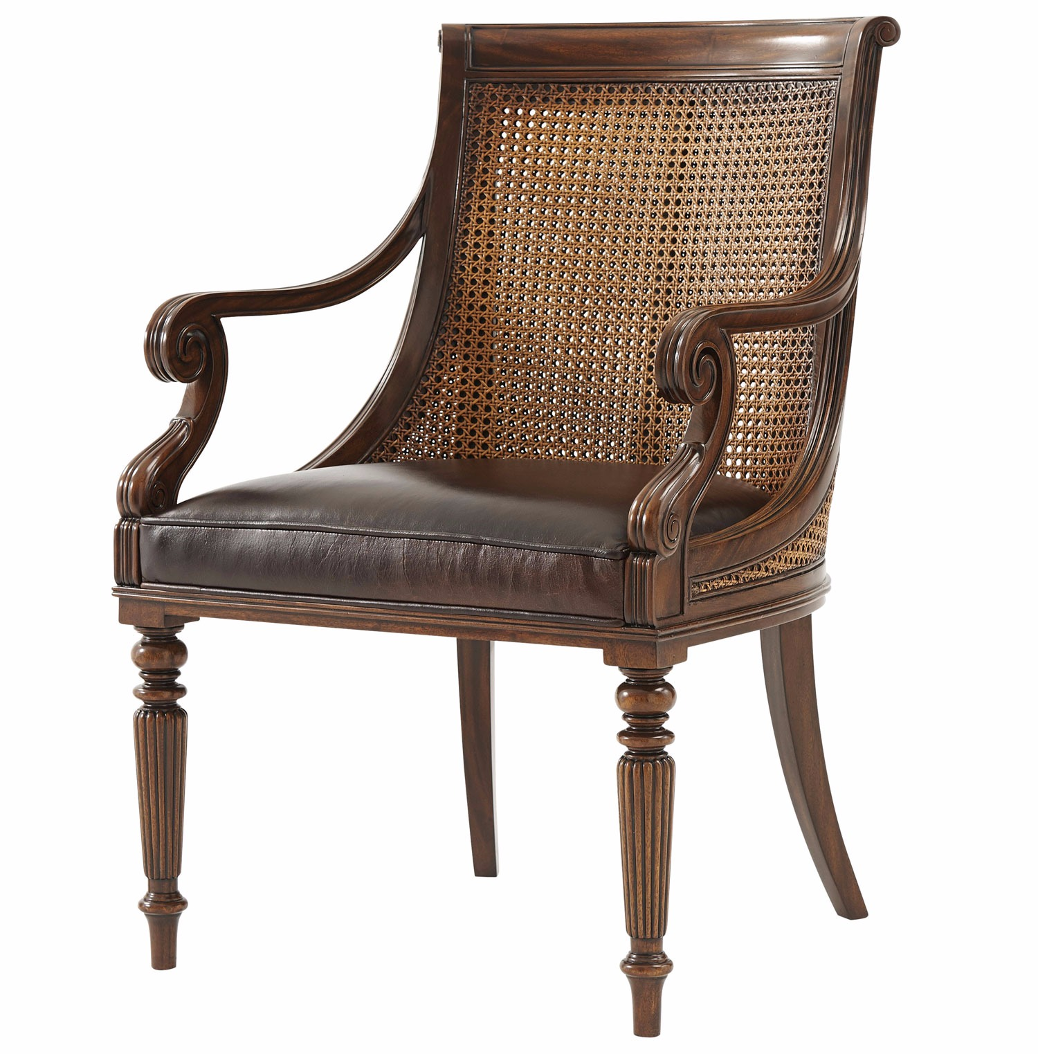 A hand carved mahogany scoop back dining armchair