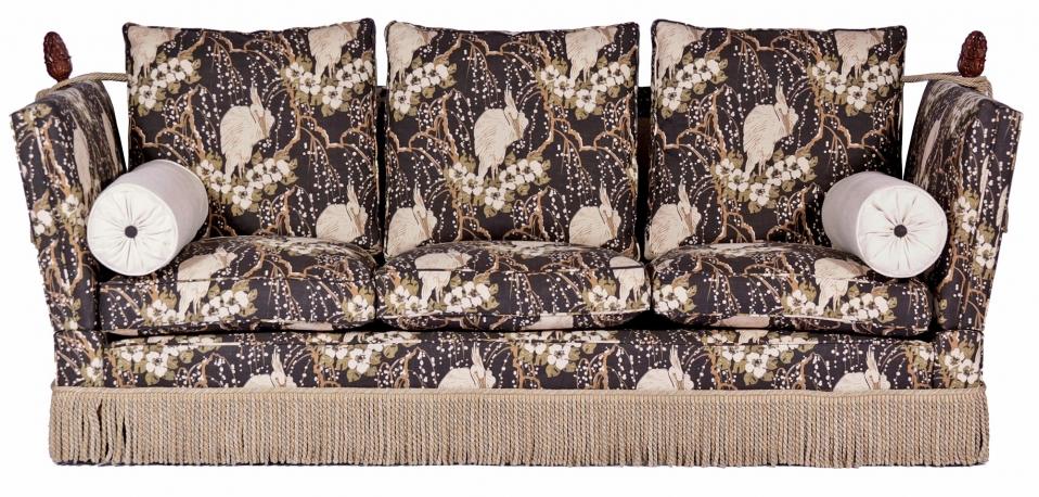 Tudor Knole drop arm sofa in Linwood Duke Panther