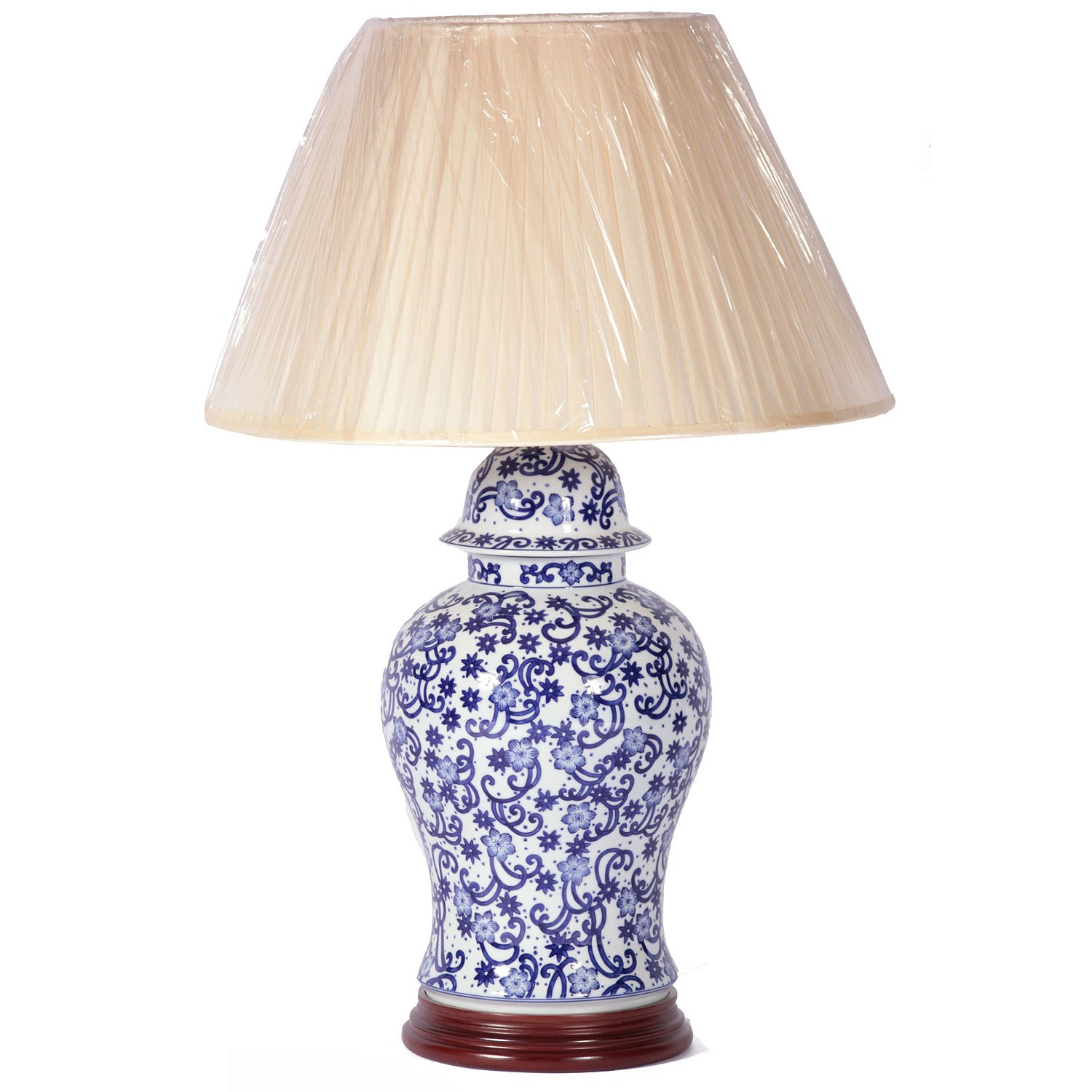 Hand painted ceramic lamp with shade
