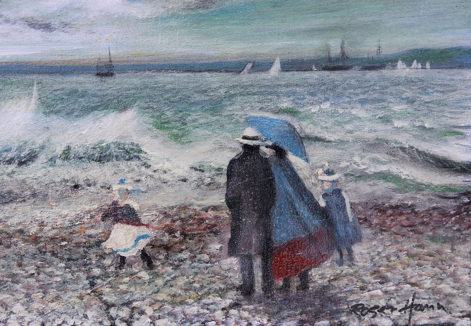 A family walk by crashing waves, original framed oil painting