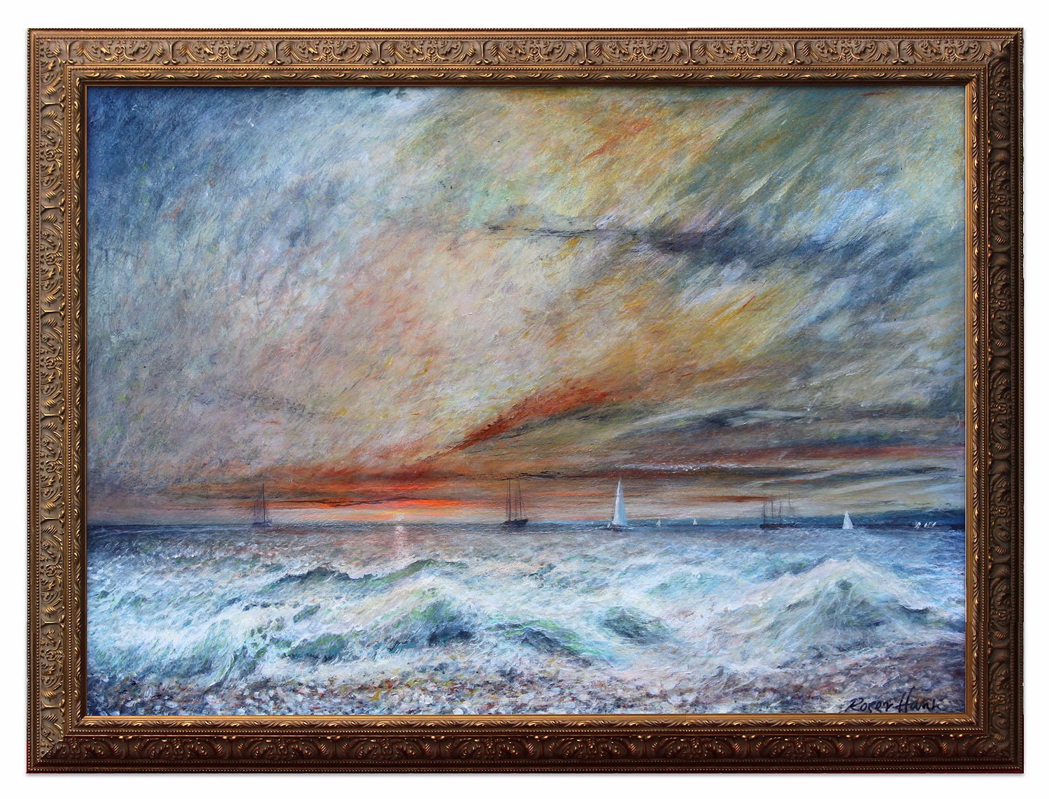 Boats returning at sunset, original painting by British artist Roger Hann