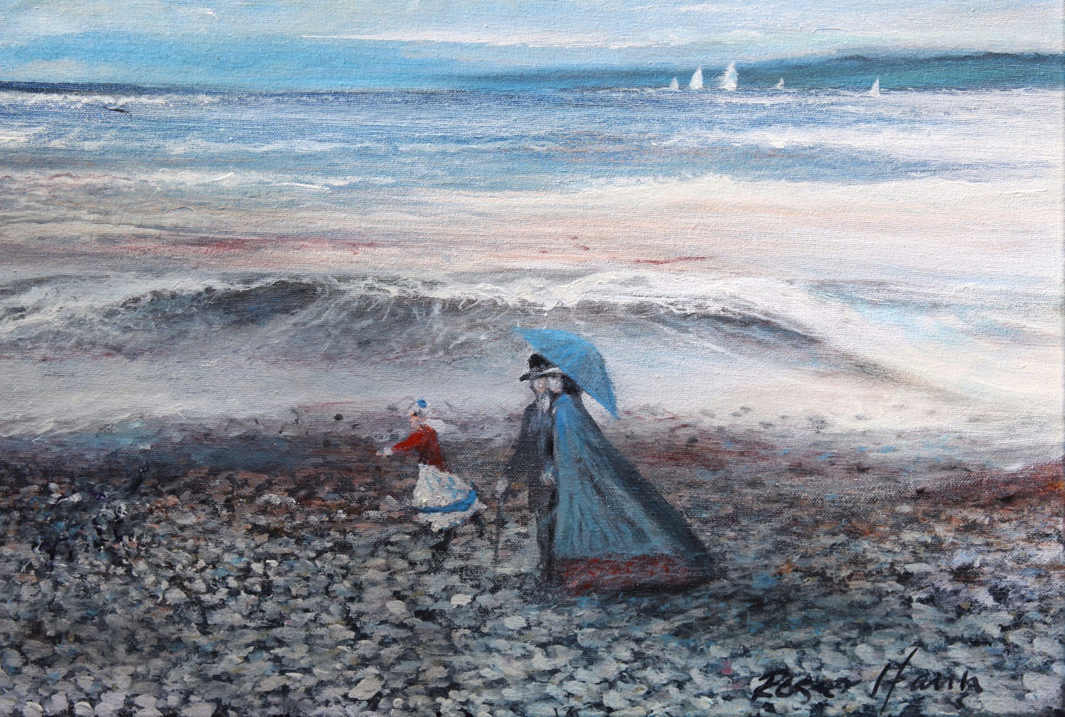 A stroll after lunch to enjoy the crashing waves, original framed oil painting