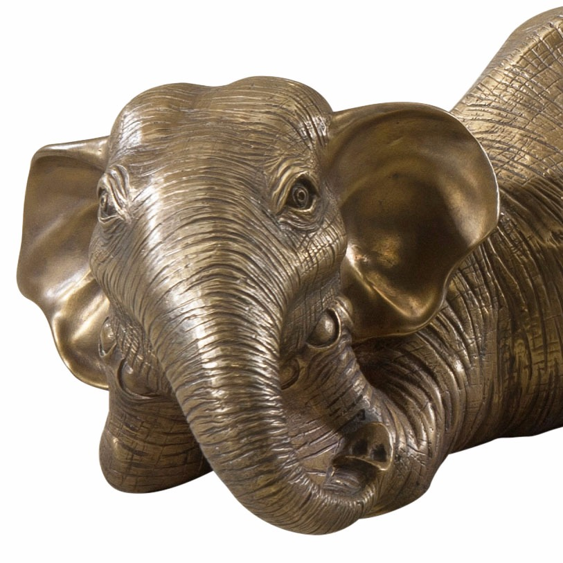 A set of two brass African elephants