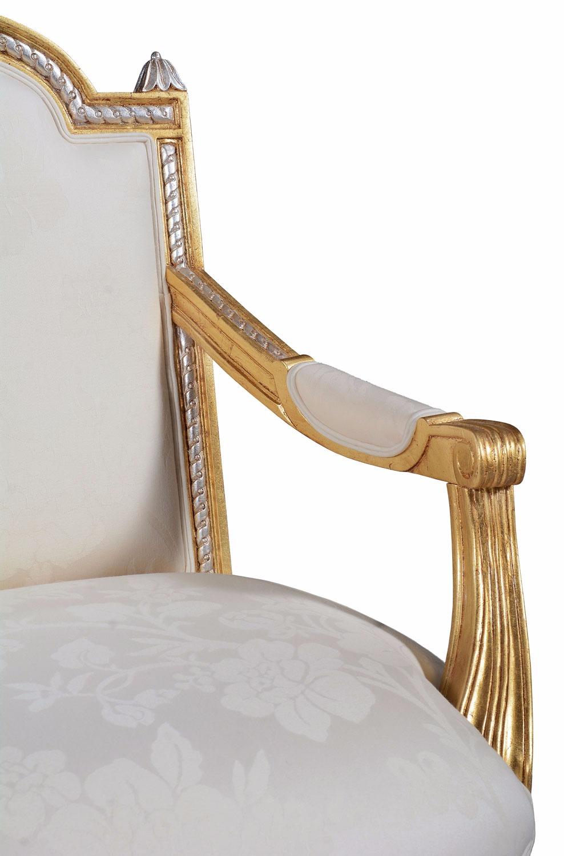 Elizabeth giltwood sofa in champagne damask - large