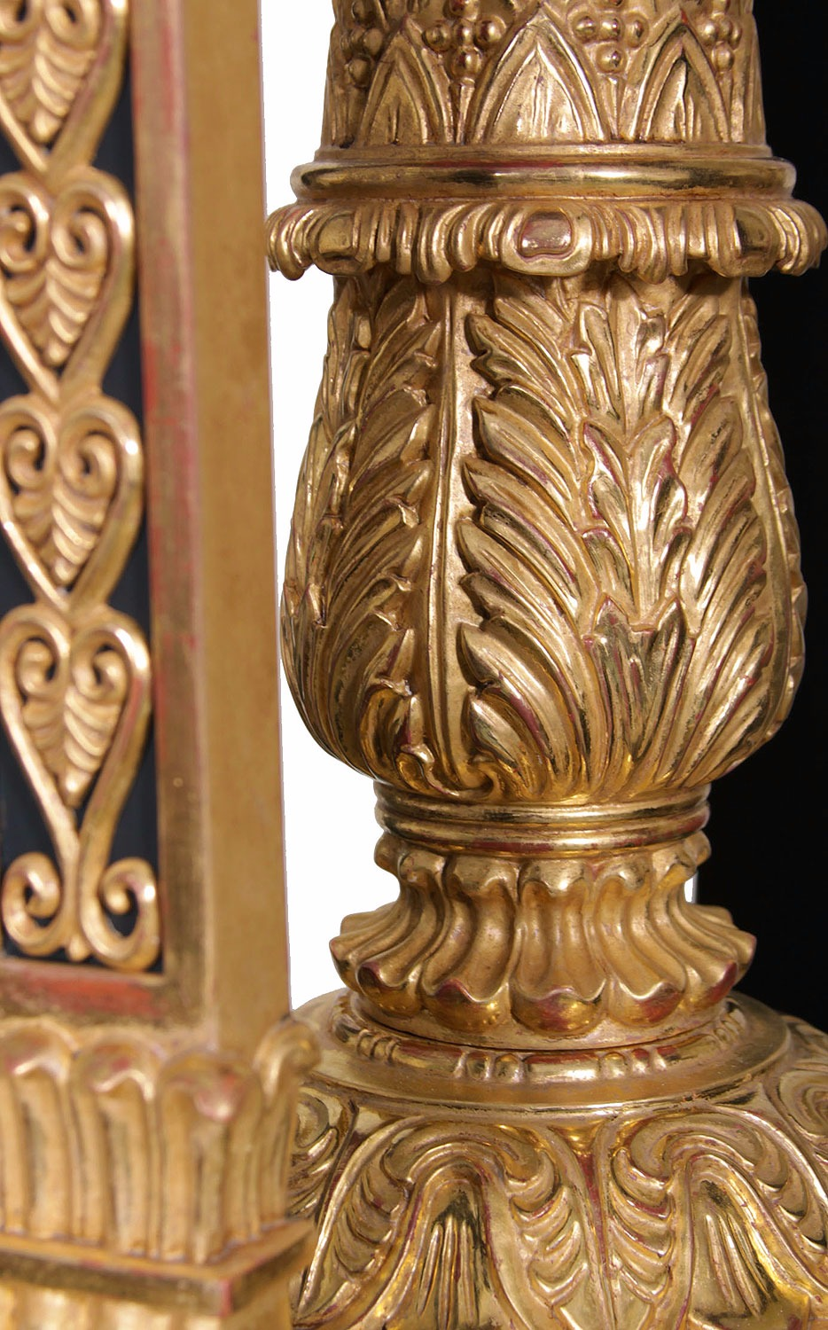 Thomas Hope style ebonised and water gilded torchere