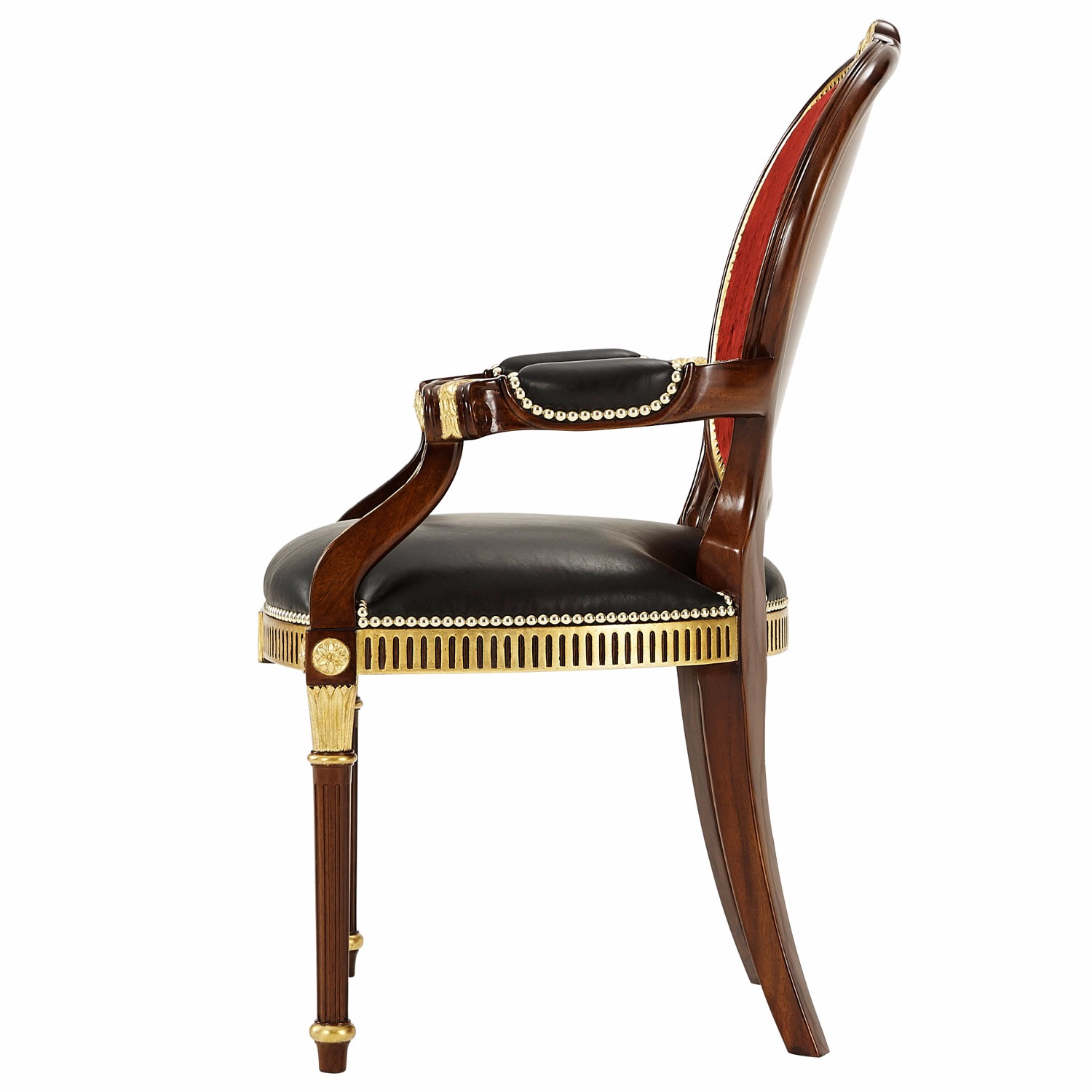 A finely carved mahogany and gilt dining arm chair