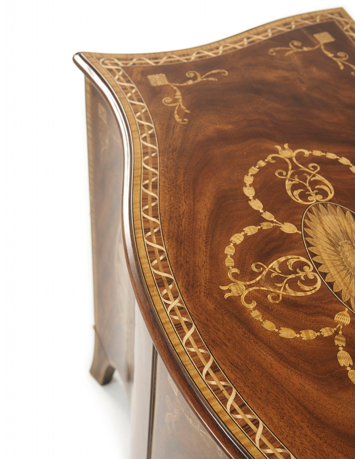 A finely marquetry inlaid swirl mahogany side cabinet