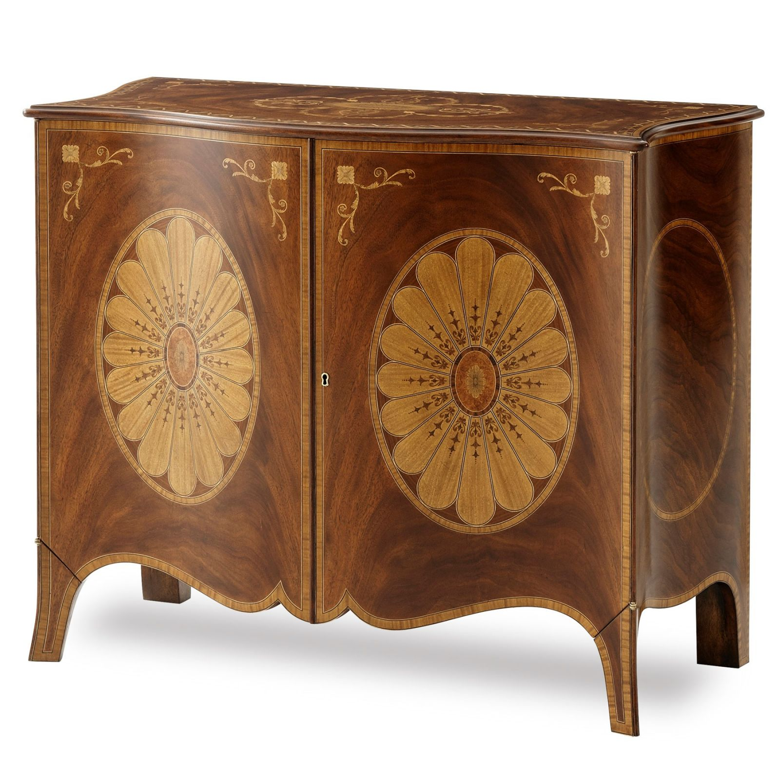 Marquetry inlaid mahogany serpentine side cabinet
