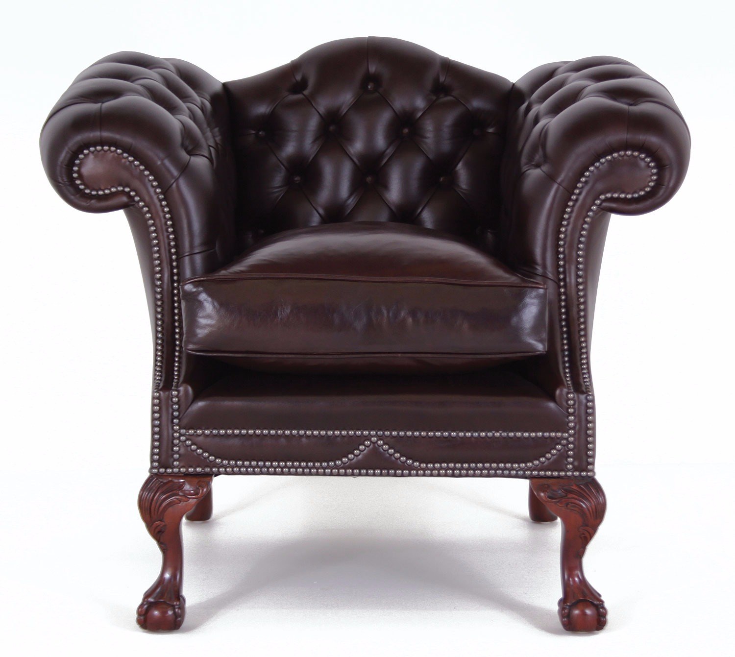 Chatsworth chair with cushion seat in Heritage chocolate leather