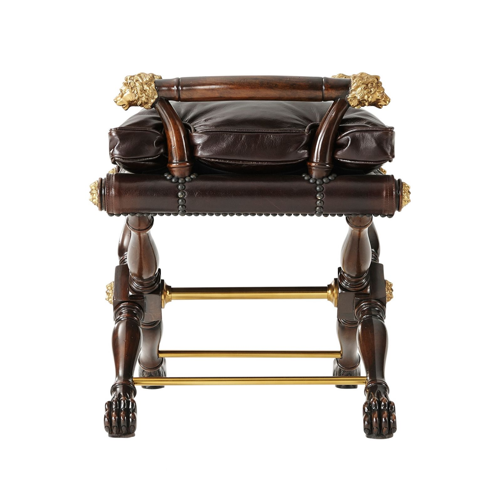 A sable mahogany and brass mounted stool